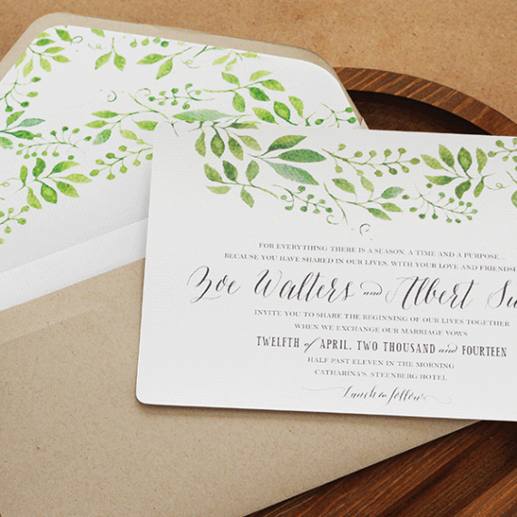 Invitation - Flat Card - Fresh Foliage