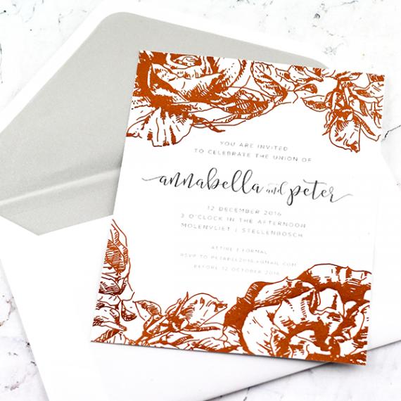 Copper Fleur Invitation