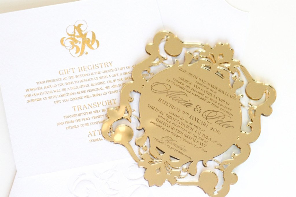 Alexia Perspex and gold foiled invitation | www.secretdiary.co.za