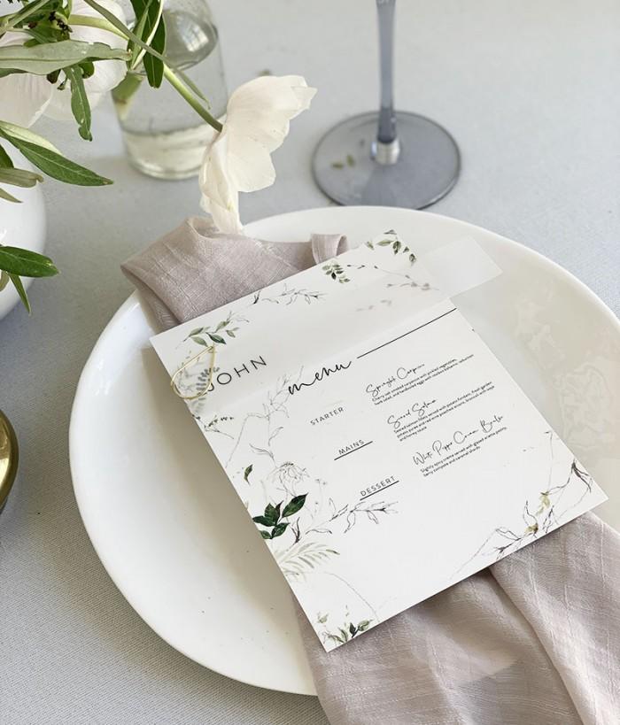 Greenhouse-Menu-Vellum-name card-Paperclip