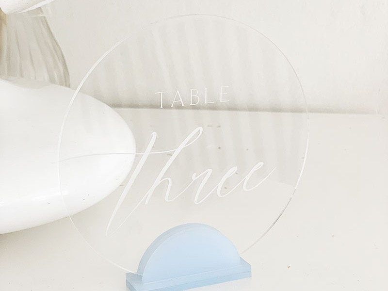 Clear and blue acrylic table number