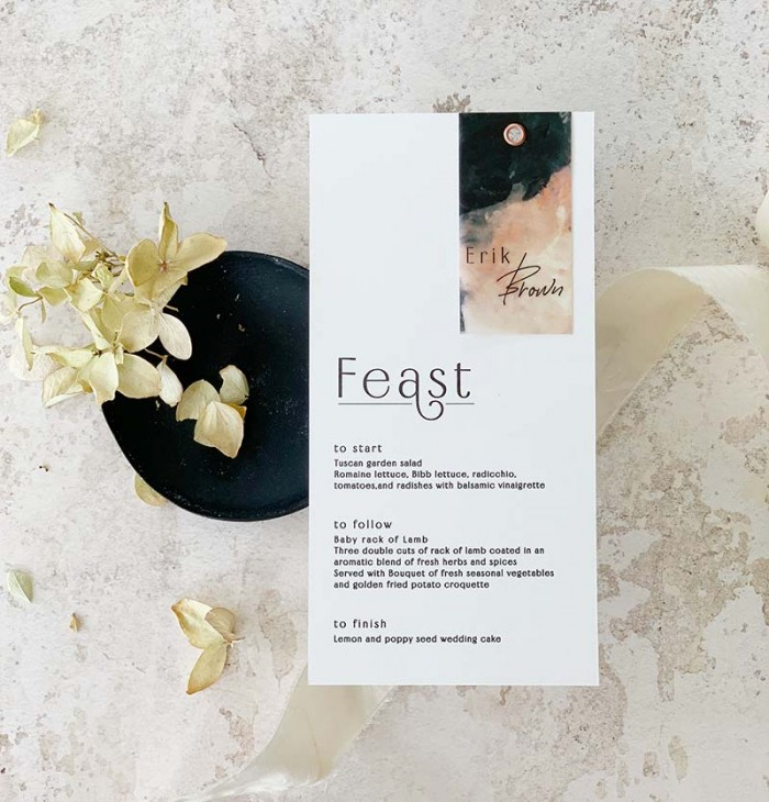 Modern layered menu with geust name